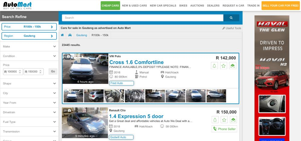 Refine your vehicle search on the Auto Mart Search Results Page