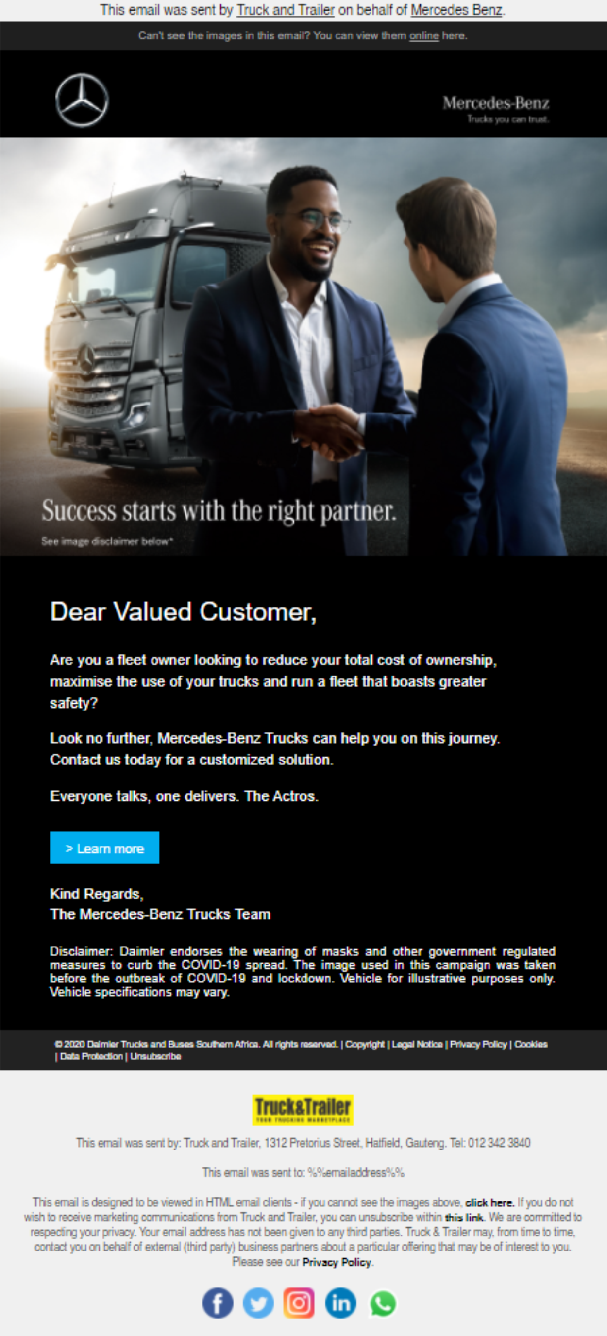 Third-Party Email Campaign | Truck & Trailer