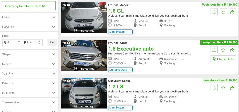 Find Voetstoots and Low-Priced Cars on Auto Mart