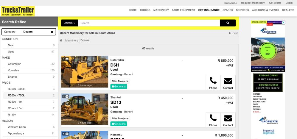 Find bulldozers for sale on Truck & Trailer