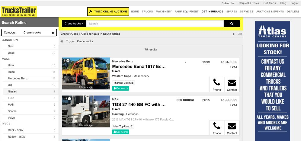 How to find a used Crane Truck for sale on Truck & Trailer