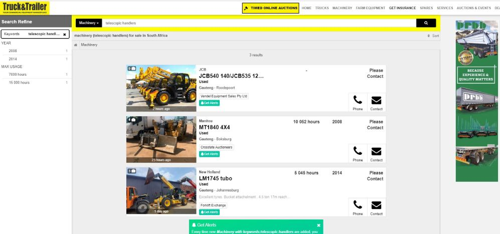 How to find a Telescopic Handler For Sale on Truck & Trailer