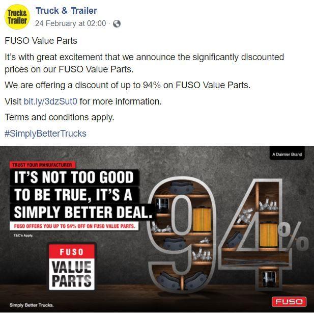 Facebook Boosting Campaign | Truck & Trailer