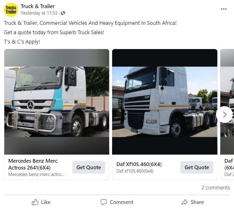 Facebook Game Changer Ads | Truck & Trailer