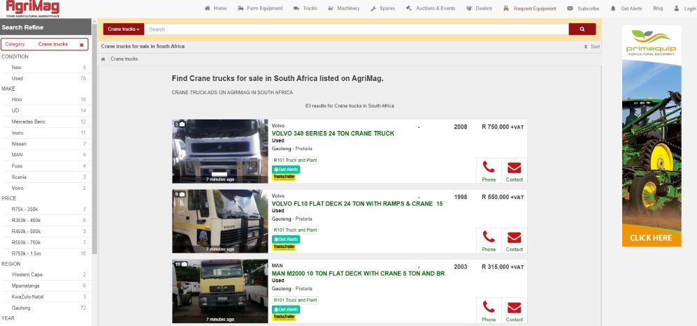 How to find a crane truck for sale on AgriMag