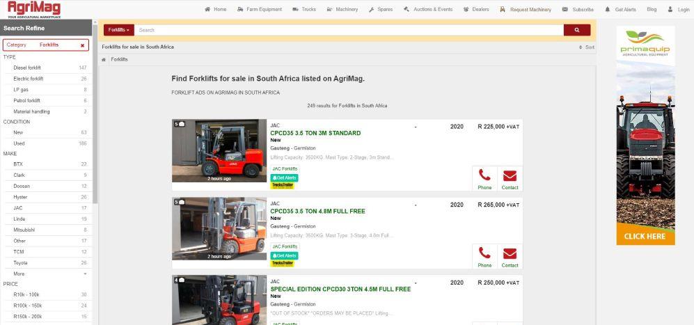 How to find a forklift for sale on AgriMag