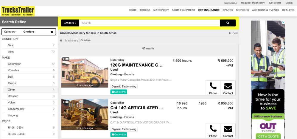 Find Motor Graders for Sale on Truck & Trailer
