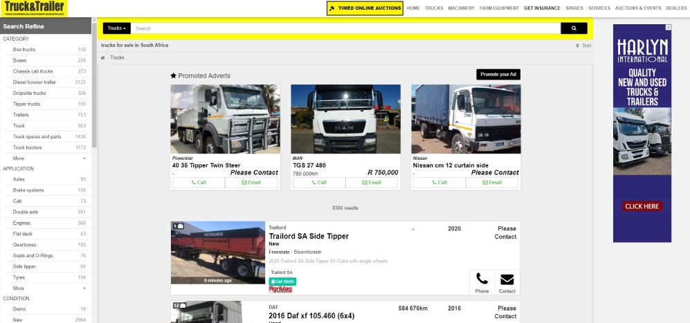 Advertise your commercial equipment on Truck & Trailer