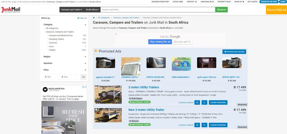 How to search for Caravans, Campers, and Trailers on Junk Mail