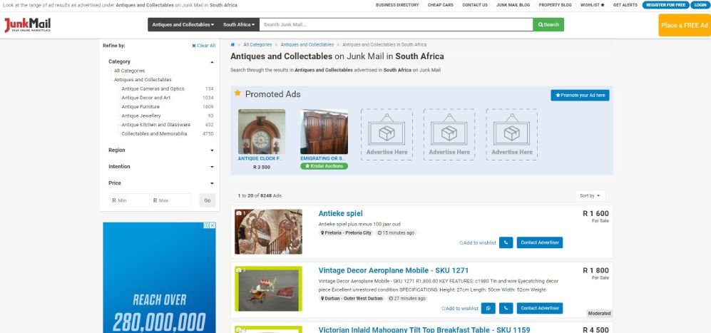 How to search for Antiques and Collectables on Junk Mail