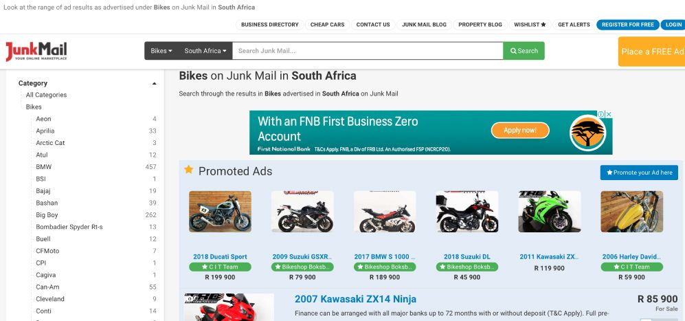 How to search for motorbikes on Junk Mail