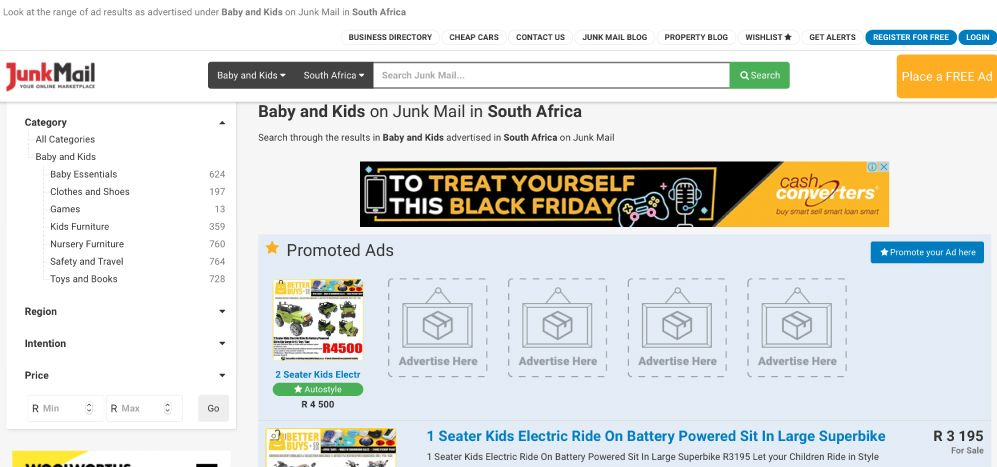 How to search for baby and kids goods on Junk Mail