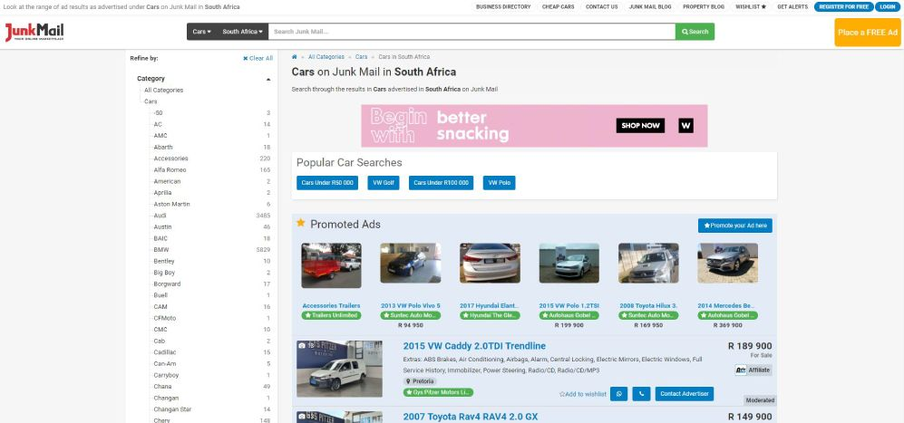 How to search for cars for sale on Junk Mail