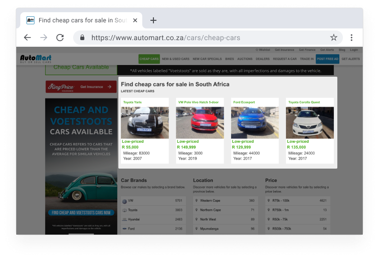 Find the latest cheap car adverts on Auto Mart